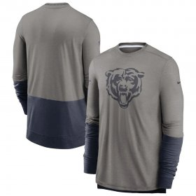 Wholesale Cheap Chicago Bears Nike Sideline Player Performance Long Sleeve T-Shirt Heathered Gray Navy