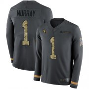 Wholesale Cheap Nike Cardinals #1 Kyler Murray Anthracite Salute to Service Men's Stitched NFL Limited Therma Long Sleeve Jersey