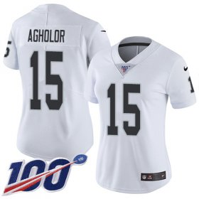 Wholesale Cheap Nike Raiders #15 Nelson Agholor White Women\'s Stitched NFL 100th Season Vapor Untouchable Limited Jersey