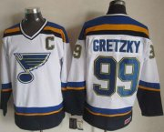Wholesale Cheap Blues #99 Wayne Gretzky White/Navy CCM Throwback Stitched NHL Jersey