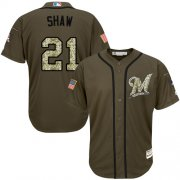 Wholesale Cheap Brewers #21 Travis Shaw Green Salute to Service Stitched MLB Jersey