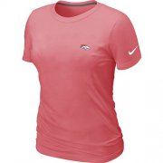 Wholesale Cheap Women's Nike Denver Broncos Chest Embroidered Logo T-Shirt Pink