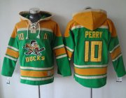 Wholesale Cheap Ducks #10 Corey Perry Green Sawyer Hooded Sweatshirt Stitched NHL Jersey