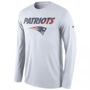 Wholesale Cheap Men's New England Patriots Nike White Legend Staff Practice Long Sleeves Performance T-Shirt