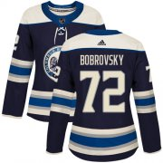 Wholesale Cheap Adidas Blue Jackets #72 Sergei Bobrovsky Navy Alternate Authentic Women's Stitched NHL Jersey