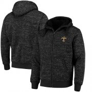 Wholesale Cheap Men's New Orleans Saints G-III Sports by Carl Banks Heathered Black Discovery Sherpa Full-Zip Jacket