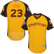 Wholesale Cheap Mariners #23 Nelson Cruz Gold Flexbase Authentic Collection 2016 All-Star American League Stitched MLB Jersey