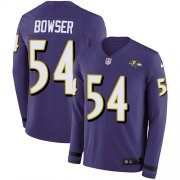 Wholesale Cheap Nike Ravens #54 Tyus Bowser Purple Team Color Men's Stitched NFL Limited Therma Long Sleeve Jersey