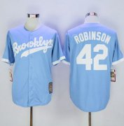 Wholesale Cheap Mitchell And Ness Dodgers #42 Jackie Robinson Light Blue Throwback Stitched MLB Jersey