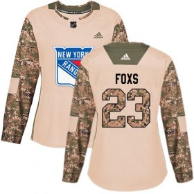 Wholesale Cheap Adidas Rangers #23 Adam Foxs Camo Authentic 2017 Veterans Day Women\'s Stitched NHL Jersey