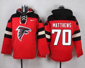 Wholesale Cheap Nike Falcons #70 Jake Matthews Red Player Pullover NFL Hoodie