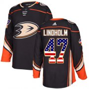 Wholesale Cheap Adidas Ducks #47 Hampus Lindholm Black Home Authentic USA Flag Stitched NHL Jersey