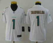 Wholesale Cheap Youth Miami Dolphins #1 Tua Tagovailoa White 2020 Vapor Untouchable Stitched NFL Nike Limited Jersey