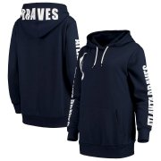Wholesale Cheap Atlanta Braves G-III 4Her by Carl Banks Women's 12th Inning Pullover Hoodie Navy