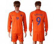 Wholesale Cheap Holland #9 V.persie Home Long Sleeves Soccer Country Jersey