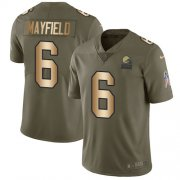 Wholesale Cheap Nike Browns #6 Baker Mayfield Olive/Gold Youth Stitched NFL Limited 2017 Salute to Service Jersey