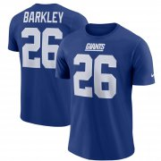 Wholesale Cheap Nike New York Giants #26 Saquon Barkley Player Pride 3.0 Name & Number Wordmark T-Shirt Royal