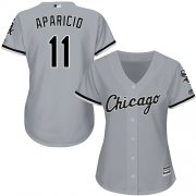 Wholesale Cheap White Sox #11 Luis Aparicio Grey Road Women's Stitched MLB Jersey