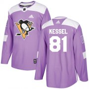 Wholesale Cheap Adidas Penguins #81 Phil Kessel Purple Authentic Fights Cancer Stitched Youth NHL Jersey