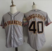 Wholesale Cheap Giants #40 Madison Bumgarner Grey Flexbase Authentic Collection Road Stitched MLB Jersey