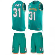 Wholesale Cheap Nike Dolphins #31 Byron Jones Aqua Green Team Color Men's Stitched NFL Limited Tank Top Suit Jersey
