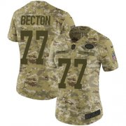 Wholesale Cheap Nike Jets #77 Mekhi Becton Camo Women's Stitched NFL Limited 2018 Salute To Service Jersey