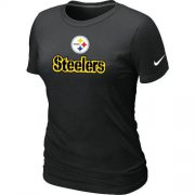 Wholesale Cheap Women's Nike Pittsburgh Steelers Authentic Logo T-Shirt Black