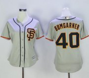 Wholesale Cheap Giants #40 Madison Bumgarner Grey Women's Road 2 Stitched MLB Jersey