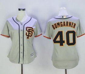 Wholesale Cheap Giants #40 Madison Bumgarner Grey Women\'s Road 2 Stitched MLB Jersey