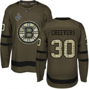 Wholesale Cheap Adidas Bruins #30 Gerry Cheevers Green Salute to Service Stanley Cup Final Bound Stitched NHL Jersey