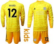 Wholesale Cheap Leicester City #12 Ward Yellow Goalkeeper Long Sleeves Kid Soccer Club Jersey