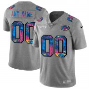 Wholesale Cheap San Francisco 49ers Custom Men's Nike Multi-Color 2020 NFL Crucial Catch Vapor Untouchable Limited Jersey Greyheather