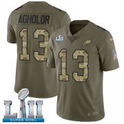 Wholesale Cheap Nike Eagles #13 Nelson Agholor Olive/Camo Super Bowl LII Youth Stitched NFL Limited 2017 Salute to Service Jersey