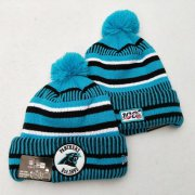 Wholesale Cheap Panthers Team Logo Blue 100th Season Pom Knit Hat YD