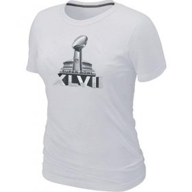 Wholesale Cheap Women\'s NFL Super Bowl XLVII Logo T-Shirt White