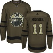 Wholesale Cheap Adidas Oilers #11 Mark Messier Green Salute to Service Stitched NHL Jersey