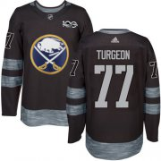 Wholesale Cheap Adidas Sabres #77 Pierre Turgeon Black 1917-2017 100th Anniversary Stitched NHL Jersey