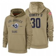 Wholesale Cheap Los Angeles Rams #30 Todd Gurley II Nike Tan 2019 Salute To Service Name & Number Sideline Therma Pullover Hoodie