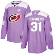 Wholesale Cheap Adidas Hurricanes #31 Anton Forsberg Purple Authentic Fights Cancer Stitched Youth NHL Jersey