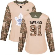 Wholesale Cheap Adidas Maple Leafs #91 John Tavares Camo Authentic 2017 Veterans Day Women's Stitched NHL Jersey