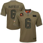 Wholesale Cheap Youth Cleveland Browns #6 Baker Mayfield Nike Camo 2019 Salute to Service Game Jersey