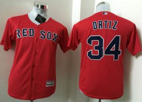 Wholesale Cheap Red Sox #34 David Ortiz Red Cool Base Name On Back Stitched Youth MLB Jersey
