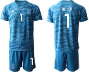 Wholesale Cheap Spain #1 De Gea Blue Goalkeeper Soccer Country Jersey