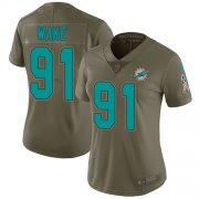 Wholesale Cheap Nike Dolphins #91 Cameron Wake Olive Women's Stitched NFL Limited 2017 Salute to Service Jersey