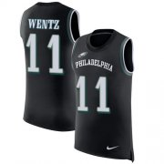 Wholesale Cheap Nike Eagles #11 Carson Wentz Black Alternate Men's Stitched NFL Limited Rush Tank Top Jersey