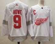 Wholesale Cheap Men's Detroit Red Wings #9 Gordie Howe White Adidas 2020-21 Alternate Authentic Player NHL Jersey