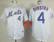 Wholesale Cheap Mets #4 Lenny Dykstra White(Blue Strip) Home Cool Base Stitched MLB Jersey