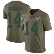 Wholesale Cheap Nike Jets #14 Sam Darnold Olive Youth Stitched NFL Limited 2017 Salute to Service Jersey