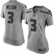 Wholesale Cheap Nike Seahawks #3 Russell Wilson Gray Women's Stitched NFL Limited Gridiron Gray Jersey