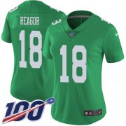 Wholesale Cheap Nike Eagles #18 Jalen Reagor Green Women's Stitched NFL Limited Rush 100th Season Jersey